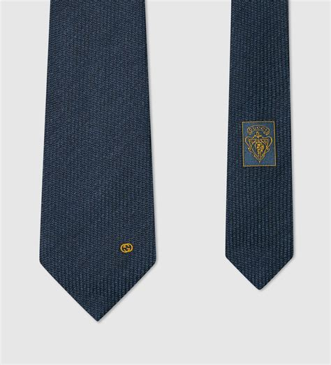 gucci wool silk tie with interlocking g detail in blue for