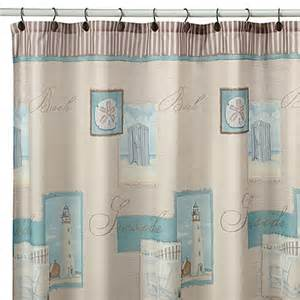 coastal shower curtains coastal collage fabric shower curtain bed bath beyond