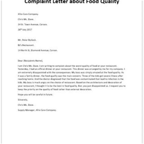 Complaint Letter Product Quality Formal Official And Professional Letter Templates Part 2