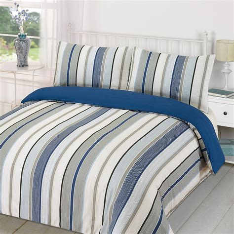 Navy Blue King Comforter Duvet Quilt Cover With Pillowcase Bedding Set Tenby Stripe