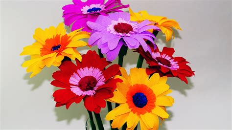 How To Make Easy Flowers Out Of Tissue Paper - easy flowers how to make gerbera tissue paper