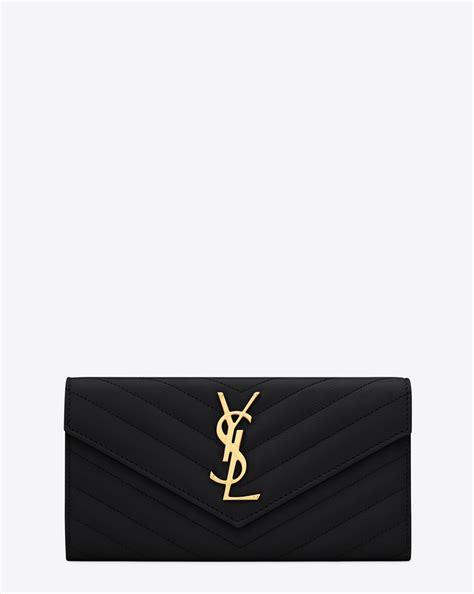 Clutch Ysl Woc Chevron Mirror Sale laurent large monogram flap wallet in black grain de