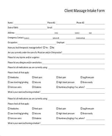 client intake form therapy template sle intake form 9 exles in word pdf