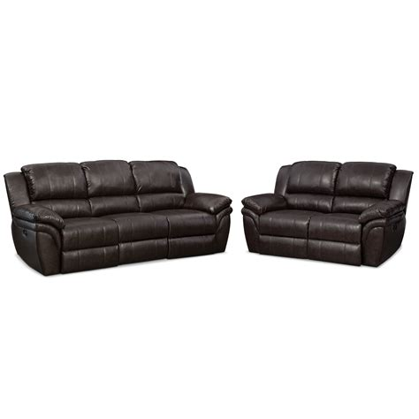 Power Reclining Sofa Set Aldo Power Reclining Sofa And Loveseat Set Brown American Signature Furniture