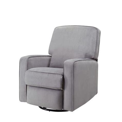 fabric swivel glider recliner pemberly row fabric swivel glider recliner in gray pr 449643