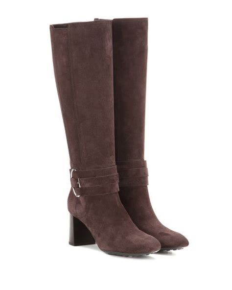 Tods Wedges 662 6 tod s suede knee high boots in brown lyst