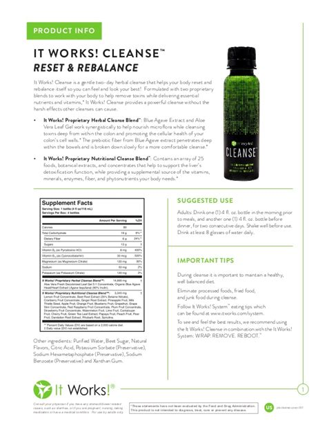 It Works Detox Cleanse Ingredients by It Works Cleanse Info Reset Rebalance Gentle Herbal