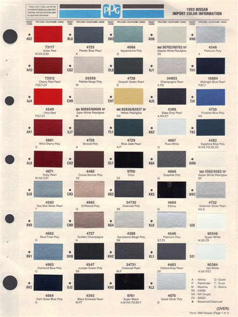 paint chips 1993 nissan