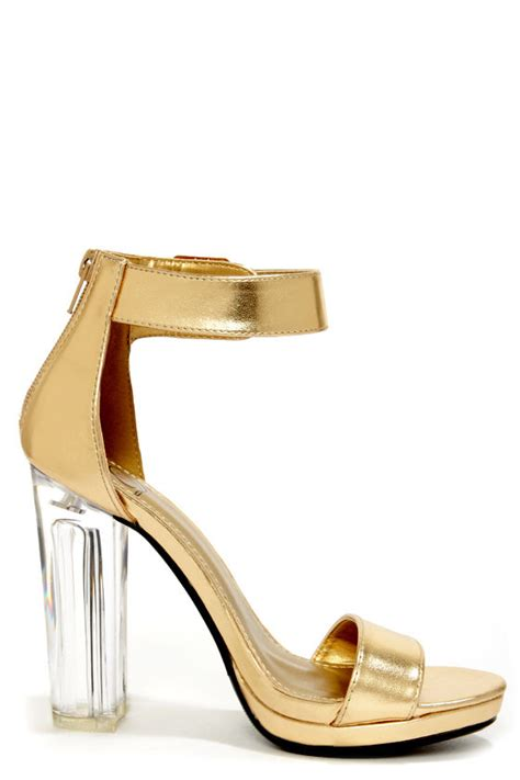 lucite high heels gold heels lucite heels dress sandals 32 00