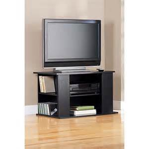 Mainstays black tv stand with side storage for tvs up to 32 quot