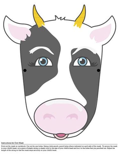 printable mask cow 17 best images about barn and cing theme kids party on