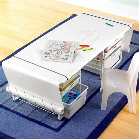 kids table with drawers white elfa kids mesh coloring table with rounded corners
