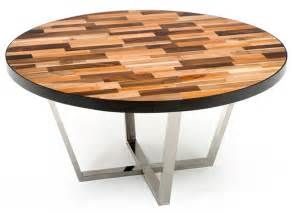 round contemporary wood dining table made reclaimed woods