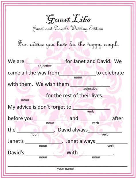 wedding mad libs template scrapbook guestbook templates weddingbee