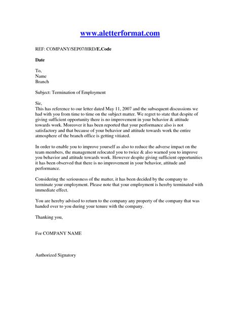 letter of termination template termination of employment letter recruit