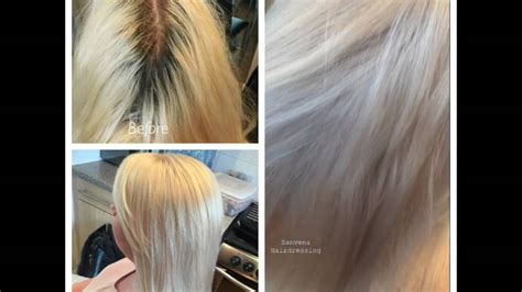the best toning shoo for blondes youtube root touch up and toning using blond me bleach olaplex