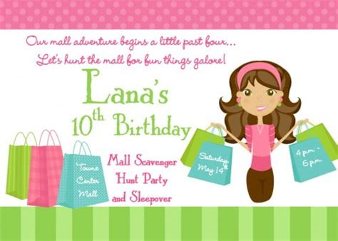 mall scavenger hunt birthday party invitations drevio
