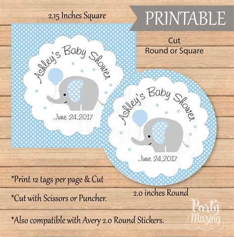 printable elephant gift tags personalized baby blue elephant tags printable boy shower