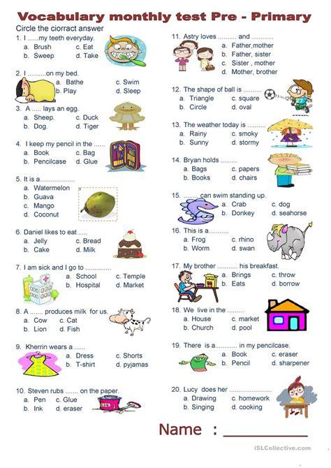 vocabulary test vocabulary monthly test worksheet free esl printable