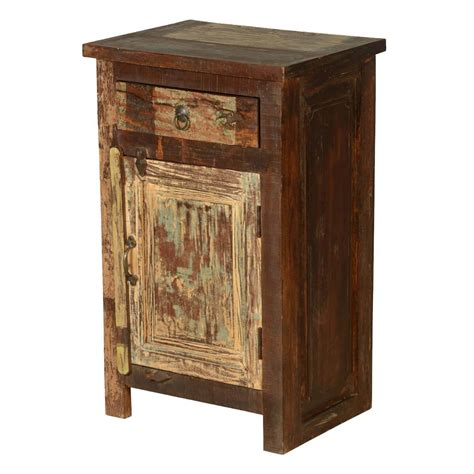 Distressed Wood Nightstand by Cleveland Distressed Reclaimed Wood 1 Drawer Nightstand