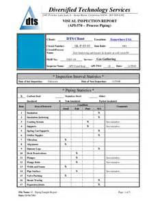 Welding Inspection Report Template by Piping Sle Report