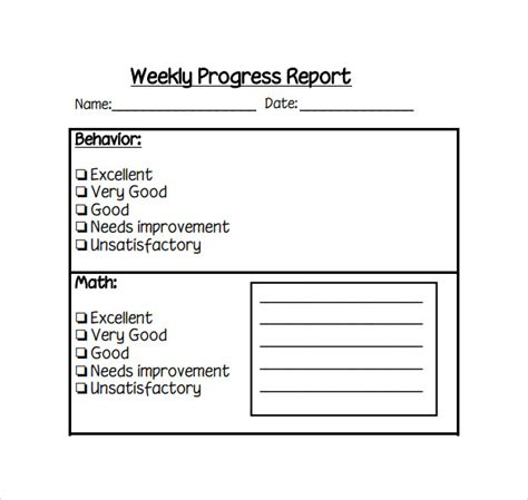 editable bi weekly student progress report template student weekly progress report sles vesnak