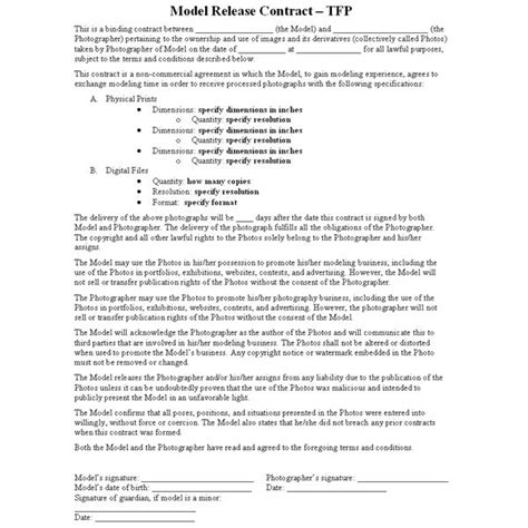 model agreement template this photography article describes the tfp quot time for