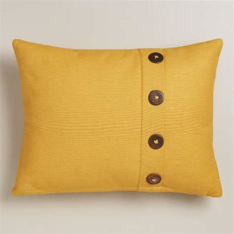 Pillows With Buttons by Yellow Ribbed Lumbar Pillow With Buttons World Market