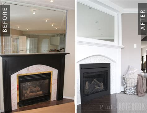 Mirror Fireplace by Remodelaholic Beautiful Tiled Fireplace And Mantel Update