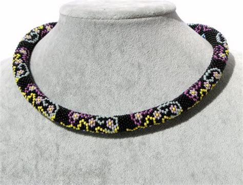 seed bead crochet patterns beaded crochet rope necklace black necklace with small