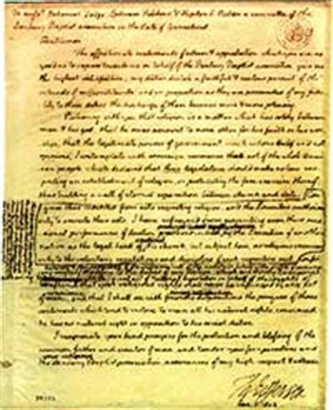 Explanation Of Jefferson S Letter To The Danbury Baptists A Wall Of Separation June 1998 Library Of Congress