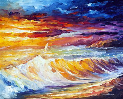 painting images gold waves palette knife oil painting on canvas by