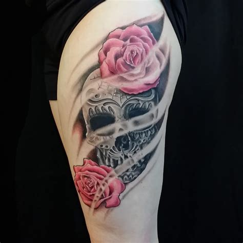dead roses tattoos catrina day of the dead flowers to the needle