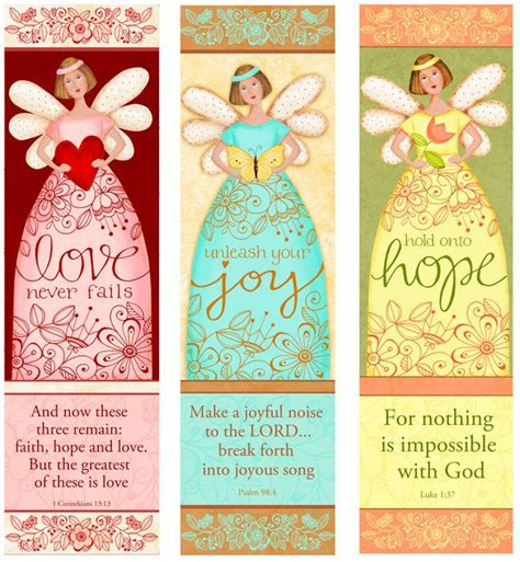 printable scripture bookmarks angelic trio instant download love hope joy bible