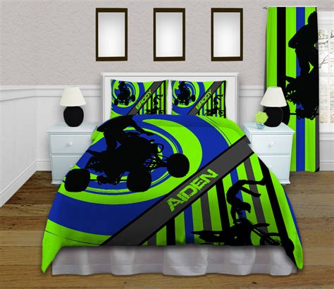 dirt bike comforter boys green and blue dirt bike sports bedding set with