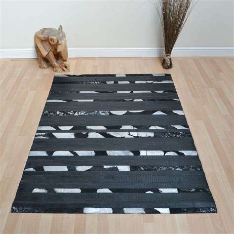 Leather Patchwork Rug - leather patchwork rug in black embossed free uk delivery