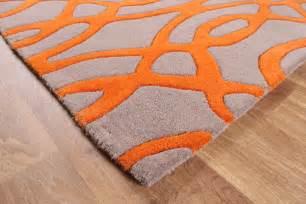 matrix wire orange grey thick wool rug max37