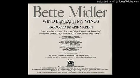 bette midler lyrics bette midler wind beneath my wings promo edit radio