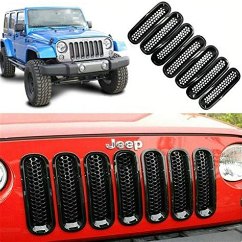 Jeep Wrangler Grill Mesh 7pc Front Grill Matte Angry Bird Grille Grid Mesh Grille
