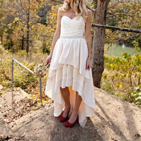 country style wedding dresses with boots country dress high low hemline with brown cowboy boots