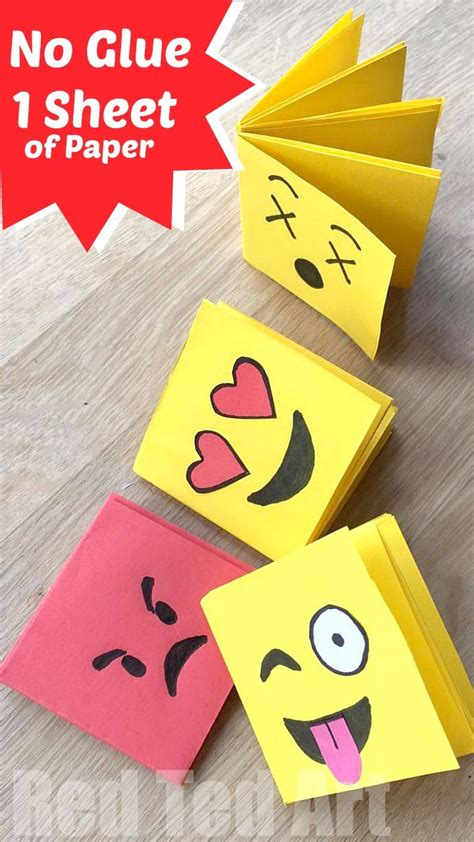 Craft In Paper - emoji mini notebook diy one sheet of paper emoji minis