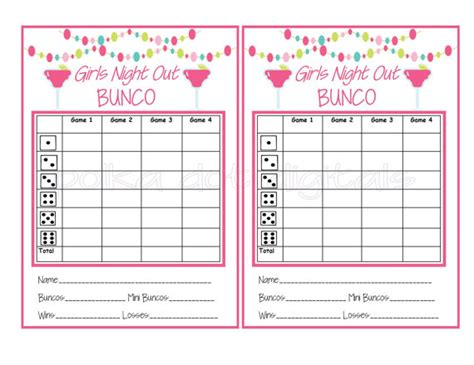 free bunco scorecard template free bunco scorecard template free template design