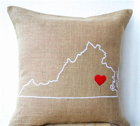 Embroidered State Pillows by Burlap Pillows Personalize Pillow State Pillow Embroidered