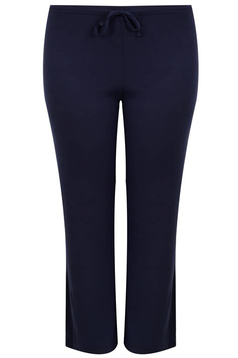 Script Smart Gift Cards - navy wide leg pull on stretch jersey yoga trousers plus size 16 to 36