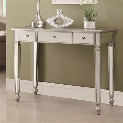 silver and glass sofa table coaster 950014 silver glass console table a sofa