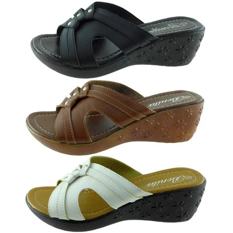womens wedge slippers new womens sandals peep toe wedge shoes slides low heels