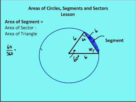 area of a circle section 11 6 areas of circles sectors segments lesson youtube
