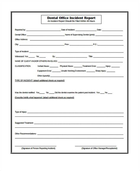patient report form template sle incident report form
