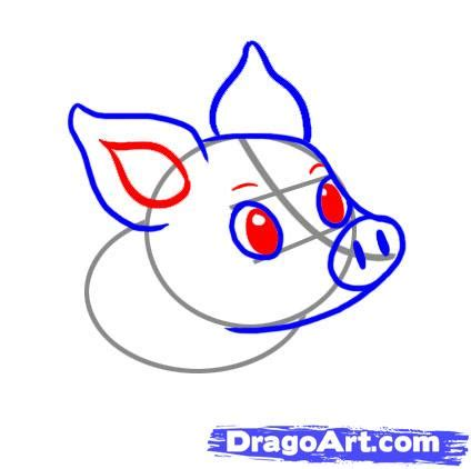 Simple Things To Draw by How To Draw A Simple Pig Step By Step Farm Animals