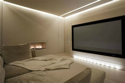 Floating Ceiling Design by The Silk Padded Acoustically Lined Cinema Has A Floating